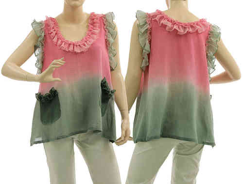 Artsy boho flared tunic with ruffles, frilled pockets in grey pink S-M