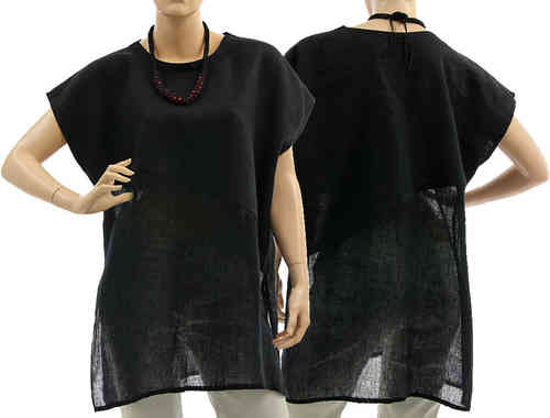 Lovely lagenlook blouse top, linen gauze in black M-L