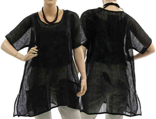Artsy boho flared tunic with leaves, linen gauze in black S-M
