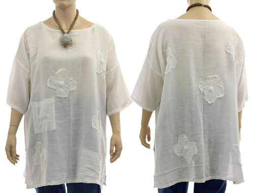 Boho tunic top with pockets and flowers, linen-cotton gauze in white L-XXL
