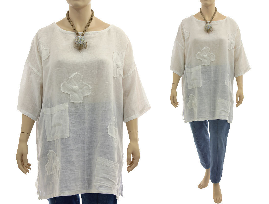 Boho Flower Tunic Linen Cotton Gauze In White L Xxl Classydress
