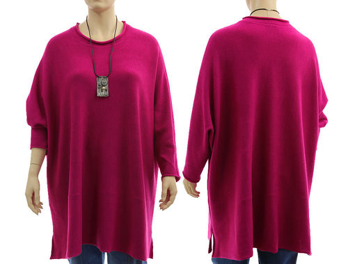 Oversized sweater Candy, super fine merino in magenta L-XXXL