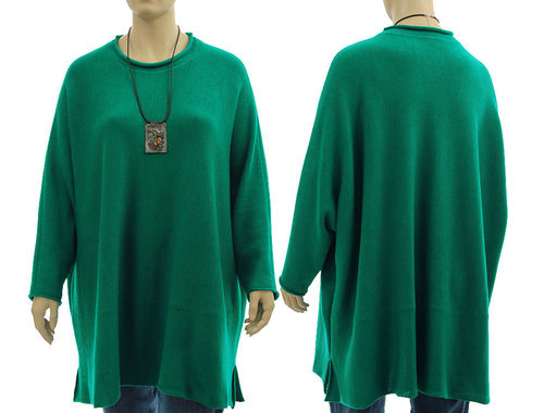 Oversized sweater Candy, super fine merino in emerald L-XXXL