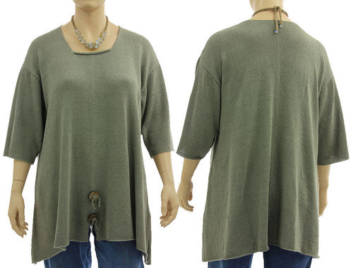 Flared sweater Lamara square neck, linen viscose in sage XL-XXL