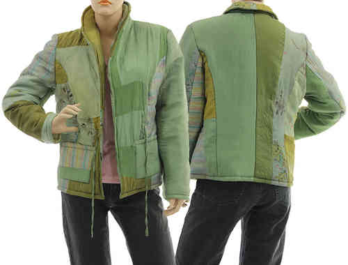 Handmade boho artsy silk coat jacket, patchwork green S M