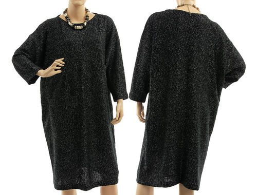 Beautiful knit dress, merino wool in black with lurex L-XL