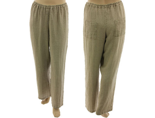 Long wide legs pants with 2 pockets, linen in natural XL-XXL