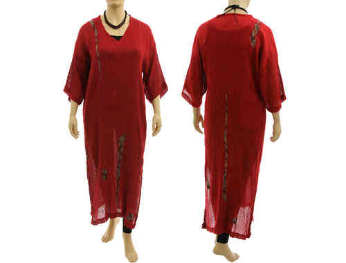 Lagenlook boho maxi dress caftan, crinkle linen gauze in dark red L XL
