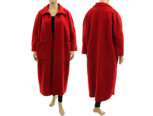 Puristic lagenlook oversized maxi coat duster, boiled wool in red L-XXL