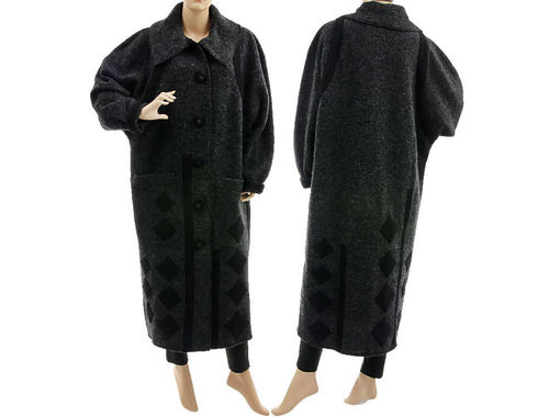 Artsy warm coat with rhombuses, boiled wool in anthracite L-XL
