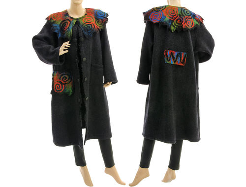 Boho warm coat with felted collar, boiled wool in dark grey L XL