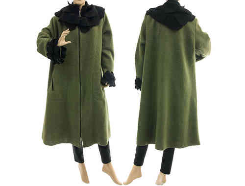 Boho artsy coat with rose collar, boiled wool in green black L XL