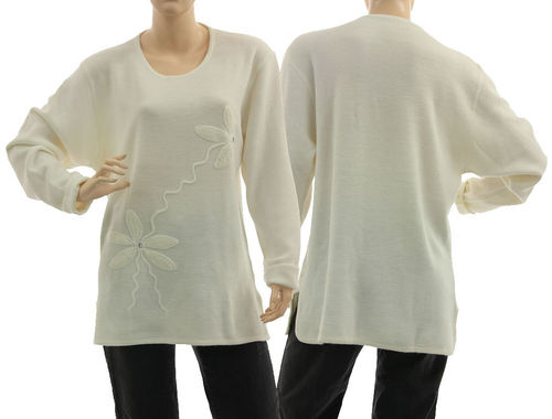 Sweater Mirja with flower application, merino wool in ecru M-L