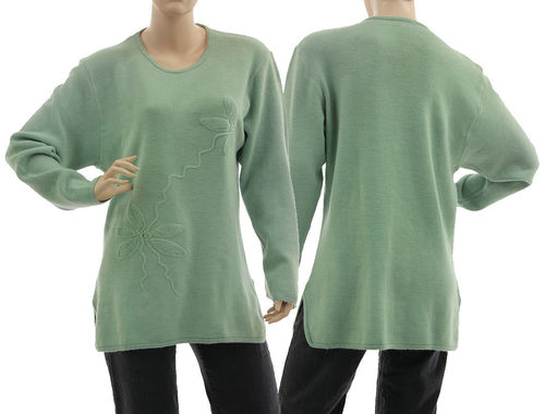 Sweater Mirja with flower application, merino wool in mint M-L