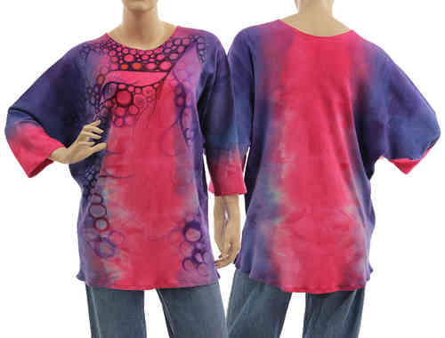 Handpainted artsy boho tunic blouse, cotton in blue lilac pink S-L
