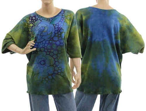 Handpainted artsy boho tunic blouse, cotton in green blue S-L