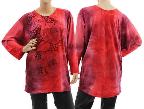 Handpainted artsy boho tunic blouse, cotton in coral red, berry S-L