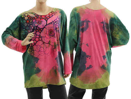Handpainted artsy boho tunic blouse, cotton in green pink S-L