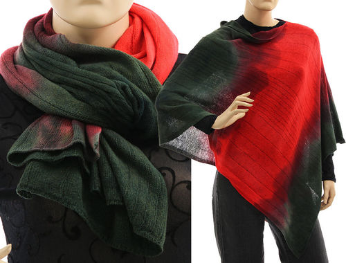 Cozy knit wool poncho wrap loop scarf hood in darkgreen red S-XL