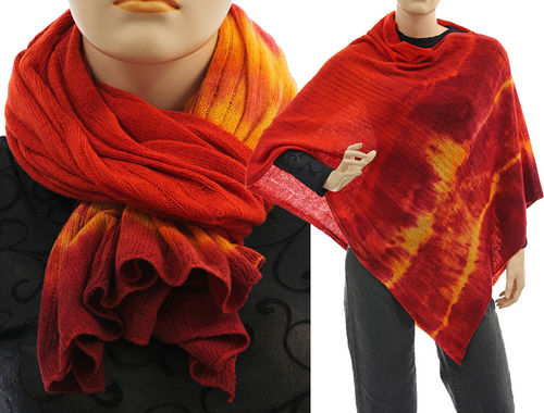 Cozy knit wool poncho wrap loop scarf hood in red orange S-XL