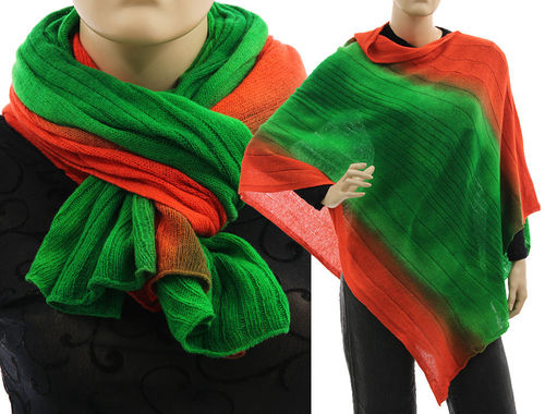 Cozy knit wool poncho wrap loop scarf hood in green orange S-XL
