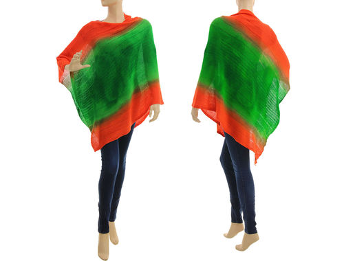 Knitted poncho cover up, lambswool in green orange S-XL
