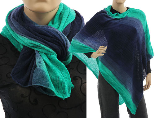 Cozy knit wool poncho wrap loop scarf hood in dark blue turquoise S-XL