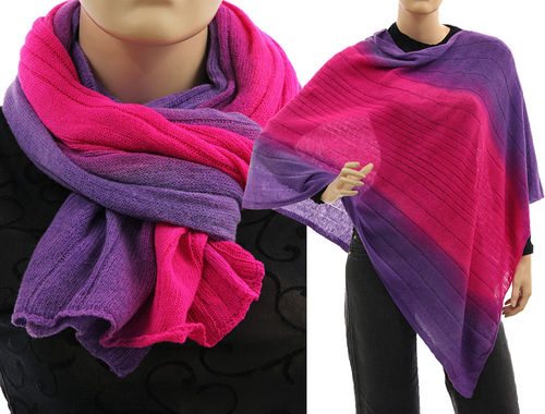 Cozy knit wool poncho wrap loop scarf hood in purple pink S-XL