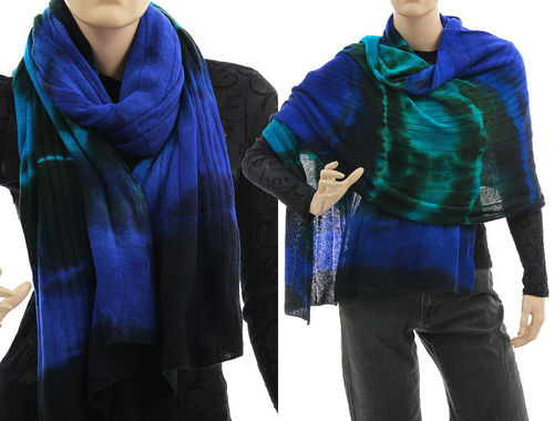 Cozy knit wool shawl wrap cape scarf in cobalt turquoise S-XXL