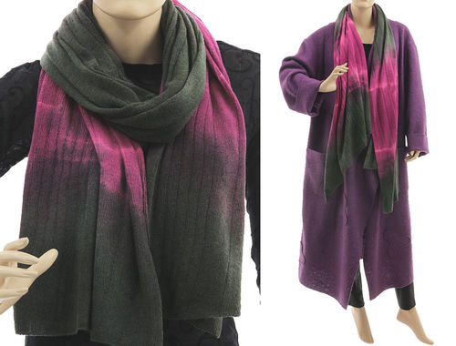 Cozy knit wool shawl wrap cape scarf in pink grey-taupe S-XXL