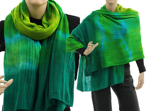 Cozy knit wool shawl wrap cape scarf in green blue S-XXL