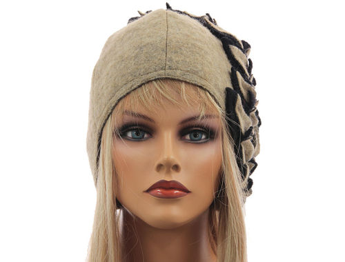 Boho lagenlook hat cap with leaves boiled wool in beige black M-XL