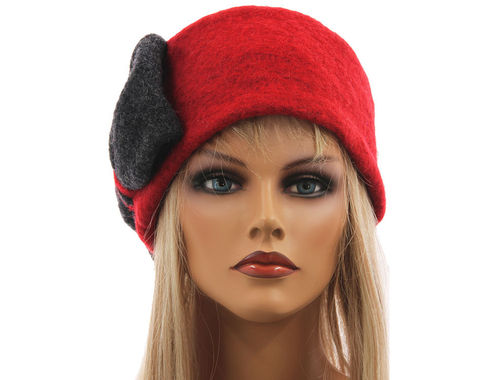 Boho lagenlook hat cap with bow boiled wool in red grey M-XL
