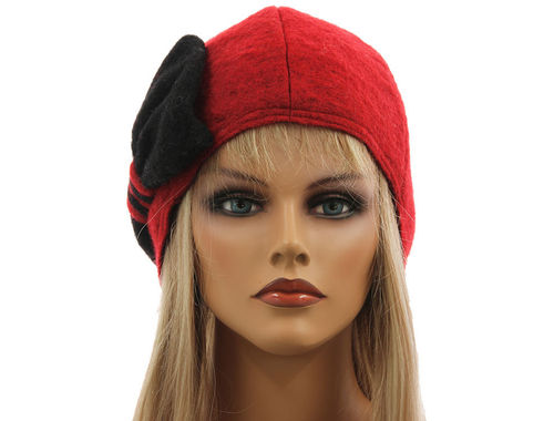 Boho lagenlook hat cap with bow boiled wool in red black M-XL