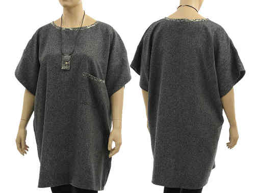 Lagenlook wide shaped dress tunic, wool silk blend in grey L-XXL