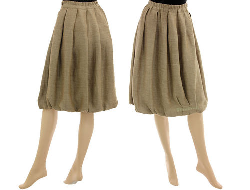 Lagenlook boho balloon skirt wool linen mix in beige S