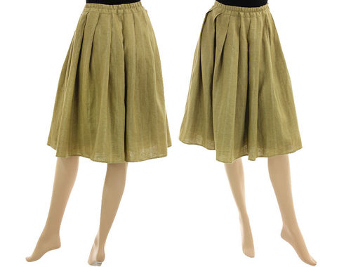Wide swinging boho skirt linen wool mix in yellow-beige S