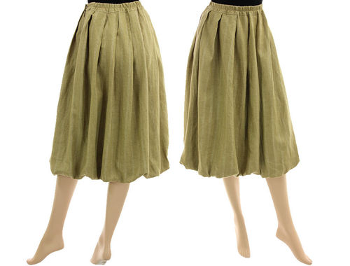 Lagenlook boho balloon skirt, linen/wool mix in yellow-beige S-M