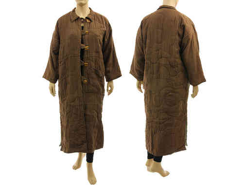 Lagenlook linen maxi coat in used look, in brown L-XL