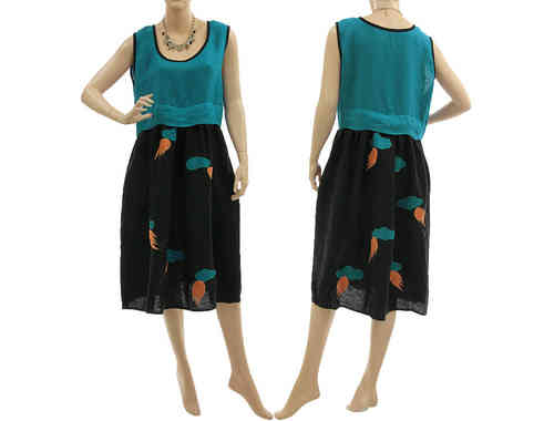 Artsy boho dress with higher waistline linen in black teal M-L