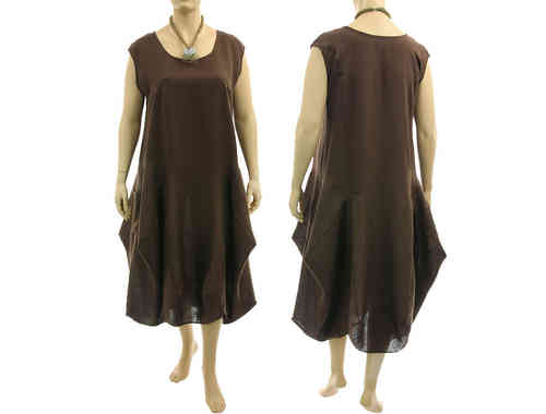 Lagenlook boho bulgy balloon dress linen in brown XL-XXL