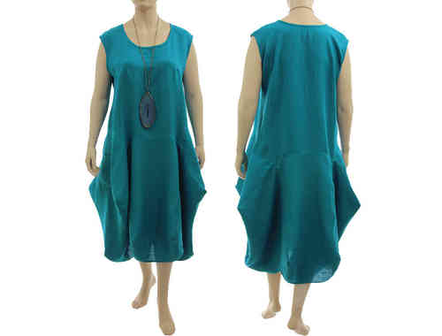 Lagenlook boho bulgy balloon dress linen in teal XL-XXL