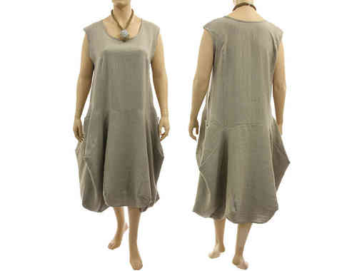 Lagenlook boho bulgy balloon dress linen in nature XXL