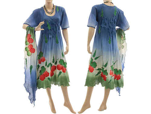 Artsy boho dress with scarf, crinkle cotton in blue red green S-M