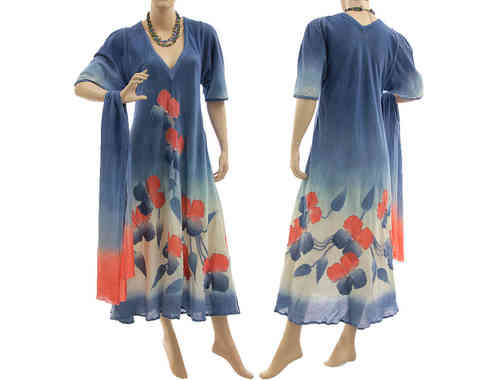 Artsy boho dress with scarf, crinkle cotton in blue with coral red S-M