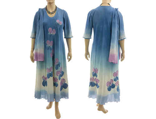 Boho flower dress with scarf, crinkle cotton in blue lilac L-XL