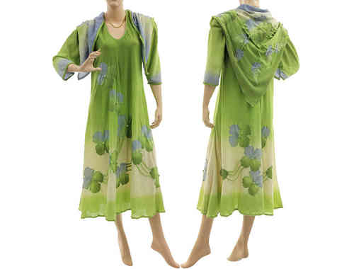 Boho flower dress with shawl, crinkle cotton in green blue L-XL