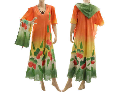 Boho flower dress with hood, crinkle cotton orange green red L-XL