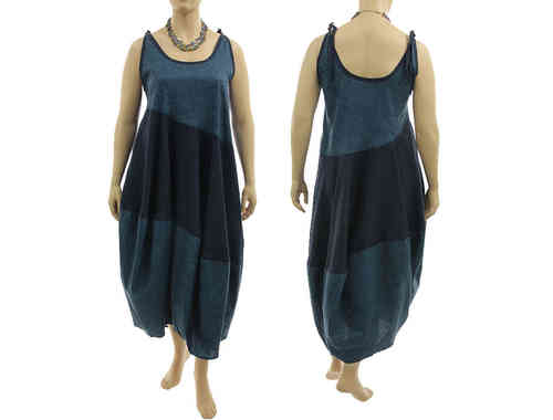 Lagenlook tie strap balloon dress cotton in dark blue-teal L