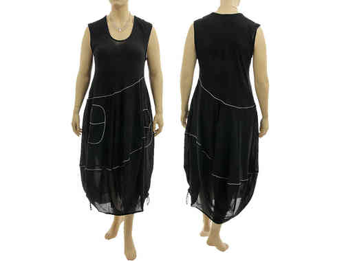 Lagenlook boho balloon dress with large pockets cotton black L-XL
